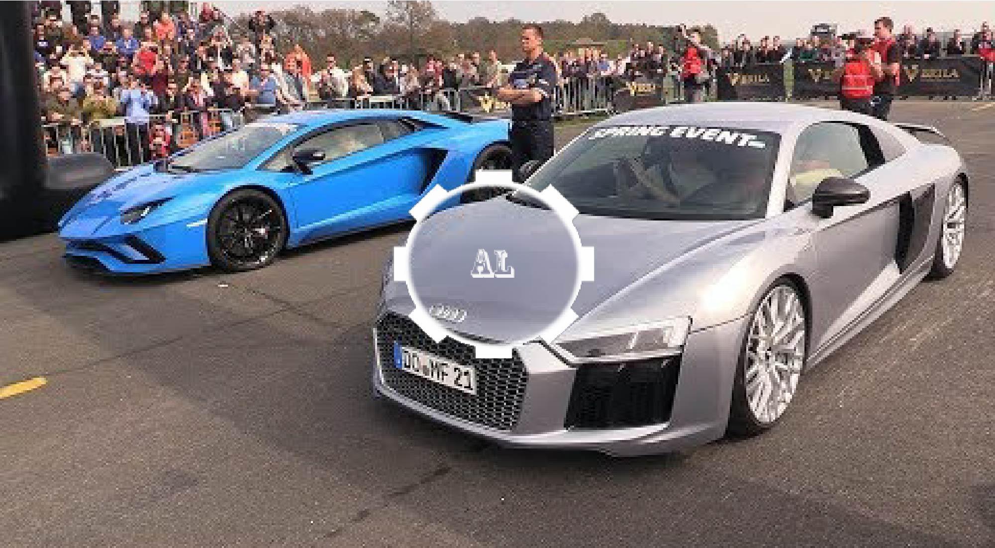 Audi R8 V10 Plus vs Lamborghini Aventador S Dragrace Audi Lovers